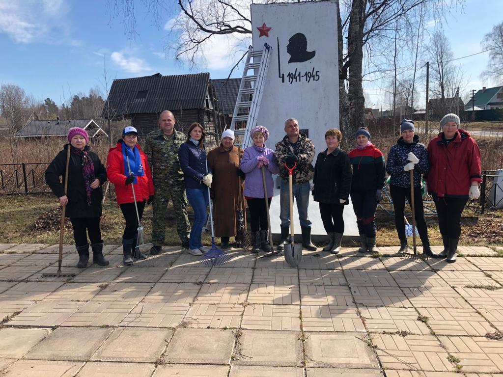 Всероссийский субботник прошел в Большедворском сельском поселении Ленинградской области 20 апреля 2021 года